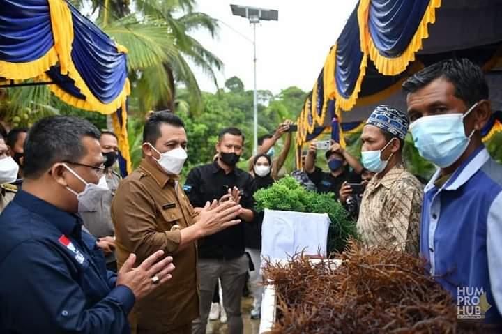 Gubernur Kepri Dan Kepala DKP Kepri, TS Arif Fadillah Saat Meninjau Hasil Panen Rumput Laut Dari Pembudidaya.