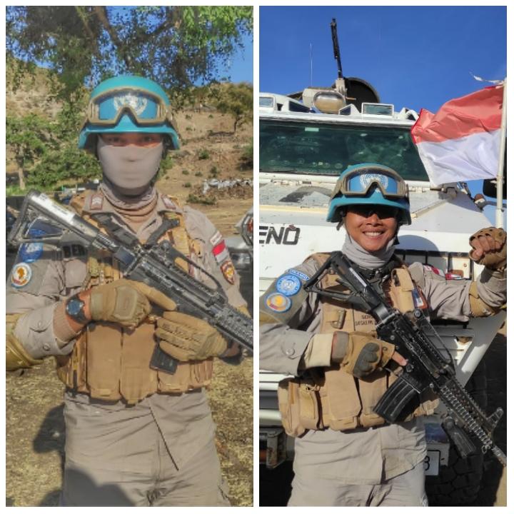 Foto personil polres Meranti saat bertugas dalam misi perdamaian Dunia.