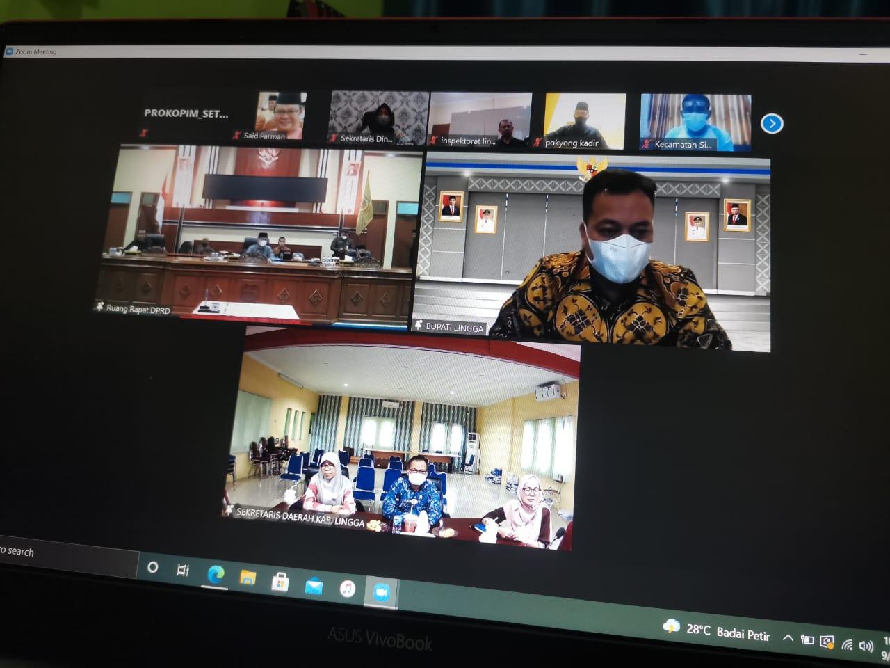 Bupati Kabupaten Lingga, M. Nizar Menyaksikan Pengesahan APBD-P Lingga Secara Virtual