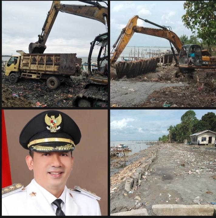 Foto Bupati H. Adil beserta foto lokasi penimbunan yang diduga miliknya.