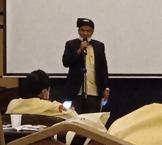 Amren Kades Desa Tinjul Saat Menjadi Juru Bicara Mewakili DPD APDESI Kepri Menyampaikan Pandangan Umum Terhadap LPJ Ketua Umum DPP APDESI