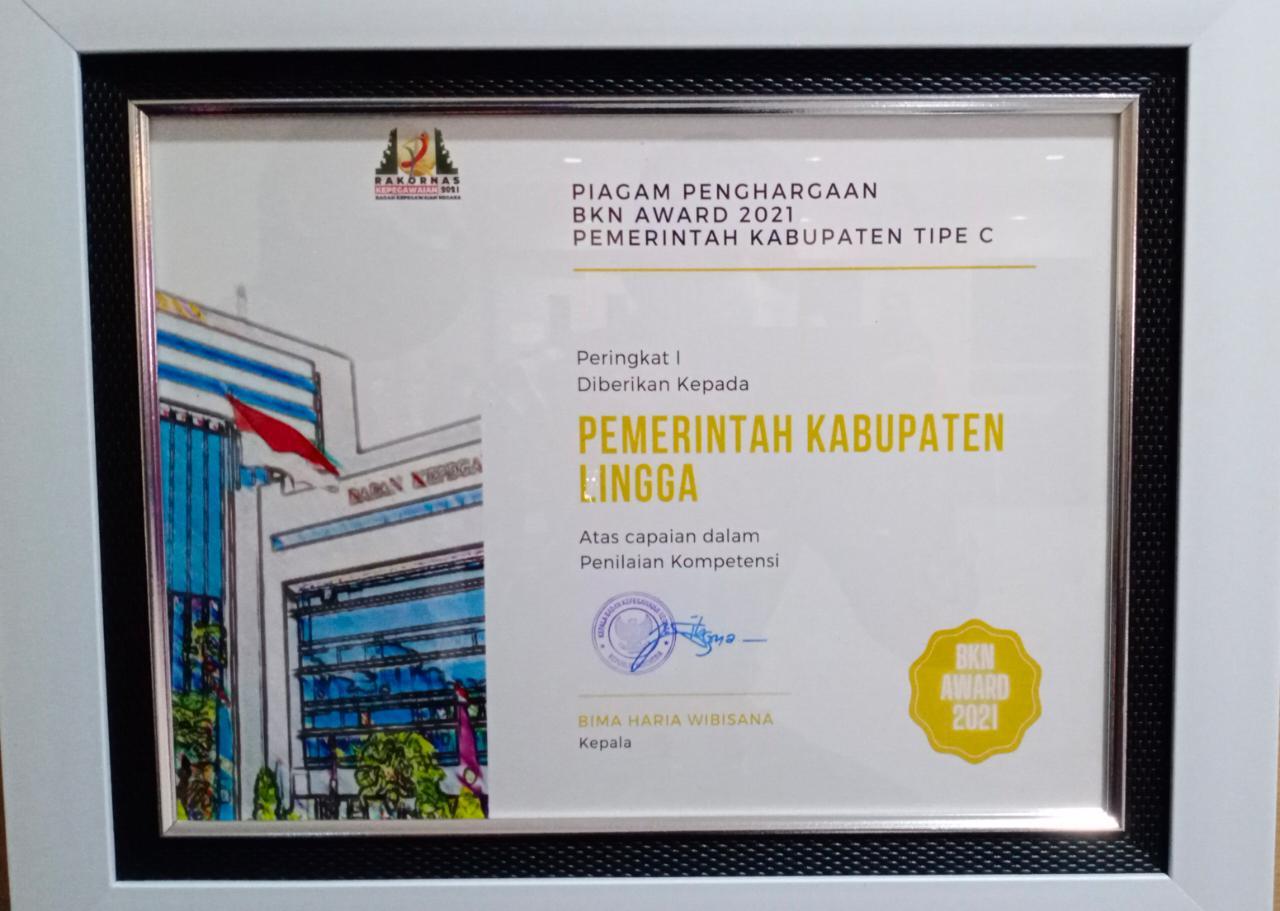 Sertifikat Penghargaan BKN Award Yang Diterima Pemkab Lingga