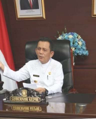 Gubernur Ansar Ahmad Saat Menyampaikan Pesan Dalam Pembukaan Webinar Nasional Yang Dilaksanakan UNIBA (foto Humpro)